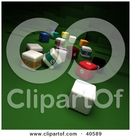 Clipart Illustration of a Square 3d Cue Ball Near Scatted Square Billiards Balls On Green by Frank Boston