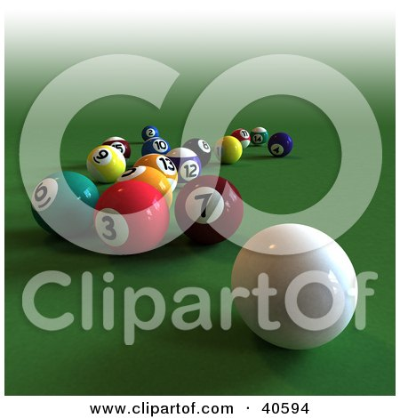 Pool Table Balls Scattered Royalty Free Po...