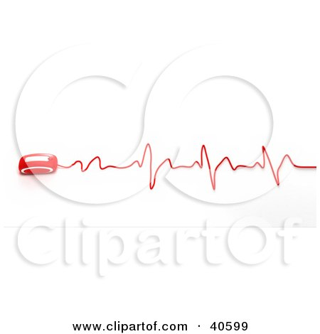 Clipart Illustration of a Red 3d Computer Mouse With A Wavy Heart Rate Monitor Graph by Frank Boston