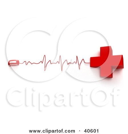 Clipart Illustration of a Red Cross Connected To A Computer Mouse With Heart Monitor Waves by Frank Boston