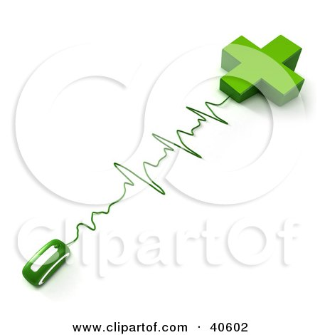 Clipart Illustration of Green Monitor Waves Connecting A Computer Mouse To A Cross by Frank Boston