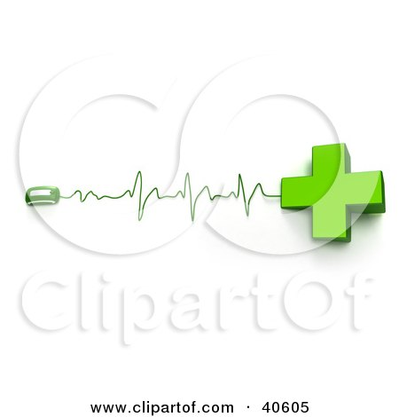 Clipart Illustration of a Green Cross Connected To A Computer Mouse With Heart Monitor Waves by Frank Boston
