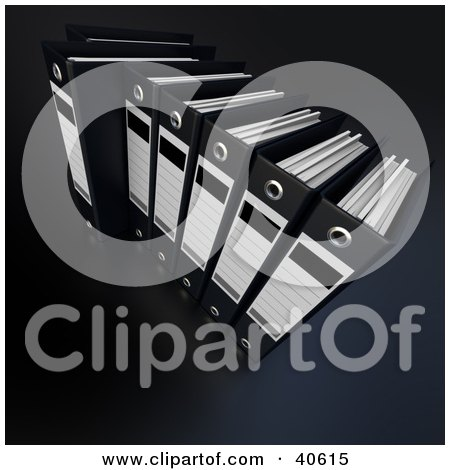 Clipart Illustration of a Row Of Black Ring Binders Full Of Data by Frank Boston