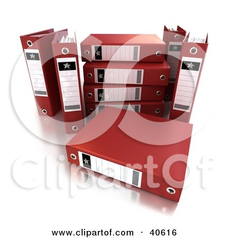 Clipart Illustration of Unorganized Red Ring Binders With Blank Labels by Frank Boston