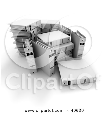 Clipart Illustration of an Unorganized Group Of White Binders With Blank Labels by Frank Boston