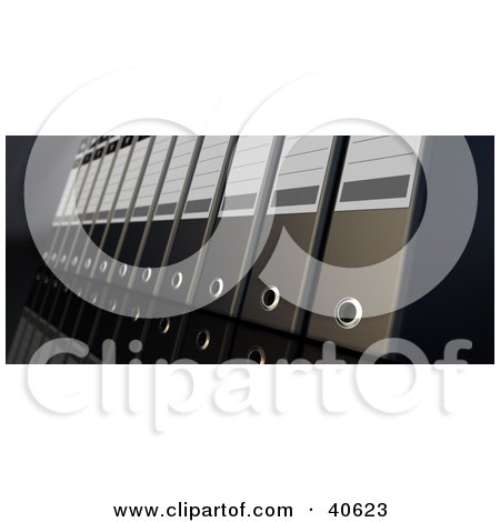 Clipart Illustration of Black 3d Ring Binders On A Reflective Surface by Frank Boston
