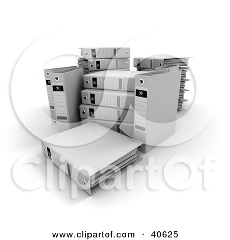 Clipart Illustration of Unorganized White Ring Binders With Blank Labels by Frank Boston
