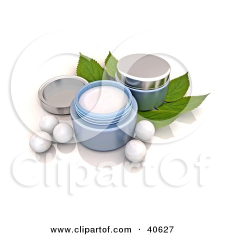 Clipart Illustration of Containers Of Facial Cream Over Mint Leaves, With White Pearls by Frank Boston