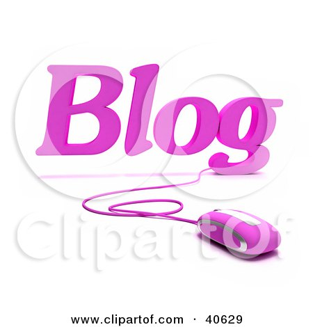Clipart Illustration of a Pink 3d Computer Mouse Connected To Blog Text by Frank Boston