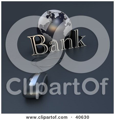 Clipart Illustration of a 3d Computer Mouse Wired To A Blue Globe And The Word Bank by Frank Boston