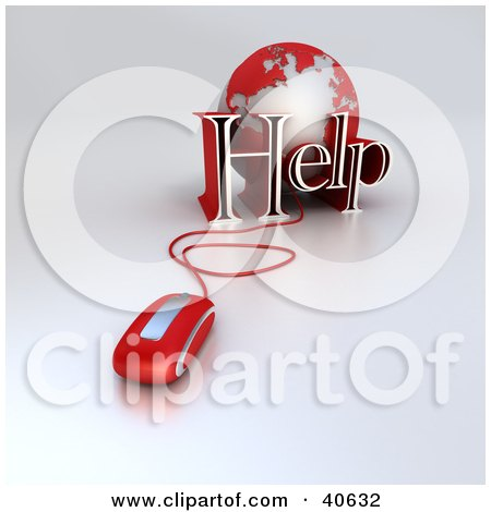 Clipart Illustration of a 3d Computer Mouse Wired To A Red Globe And The Word Help by Frank Boston
