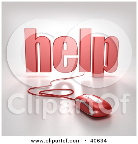 Clipart Illustration of a Red Computer Mouse Connected To The Word Help by Frank Boston