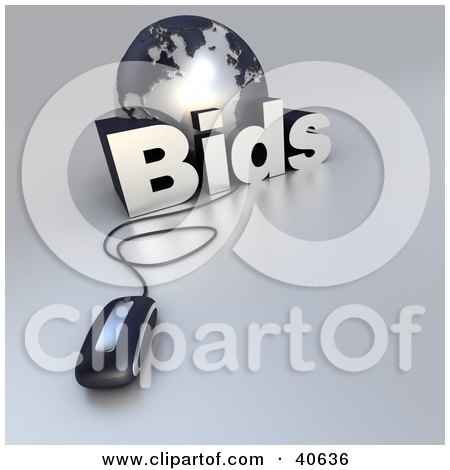Clipart Illustration of a 3d Computer Mouse Wired To A Silver Globe And The Word Bids by Frank Boston