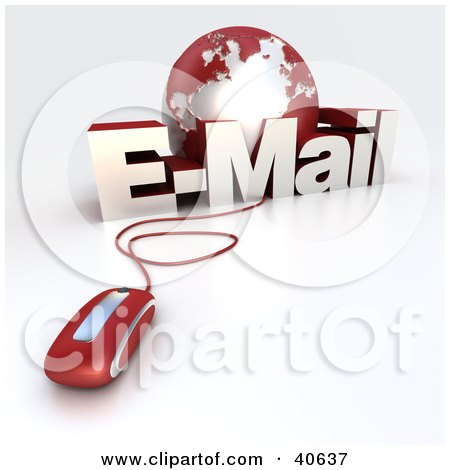 Clipart Illustration of a 3d Computer Mouse Wired To A Red Globe And The Word EMail by Frank Boston