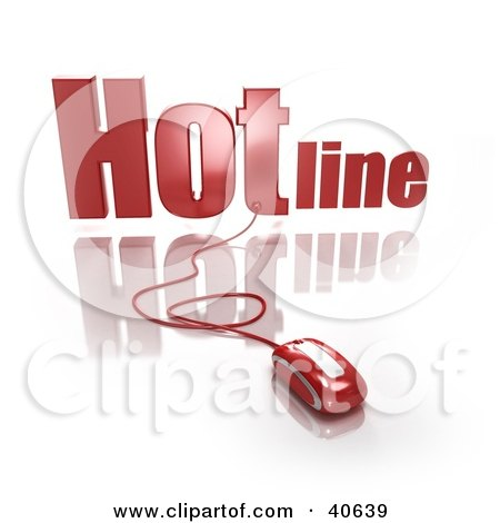Clipart Illustration of a 3d Computer Mouse Connected To A Red Hotline by Frank Boston