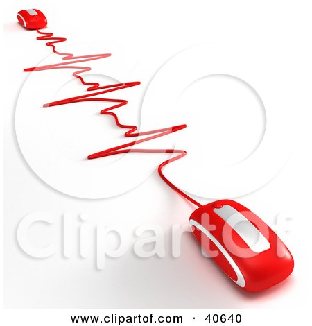 Clipart Illustration of Two Red 3d Computer Mice Connected At Ends Of A Red Heart Rate Monitor Graph by Frank Boston