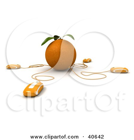 Clipart Illustration of 3d Computer Mice Connected To An Orange by Frank Boston