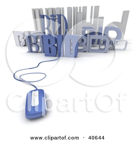Clipart Illustration of a Blue 3d Computer Mouse Connected To A Barcode With Bids by Frank Boston