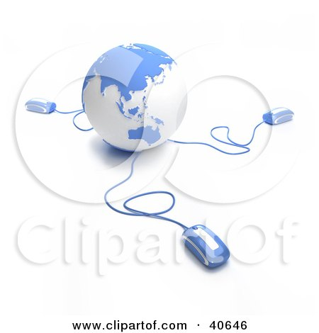 Clipart Illustration of 3d Computer Mice Connected To A Light Blue Globe by Frank Boston