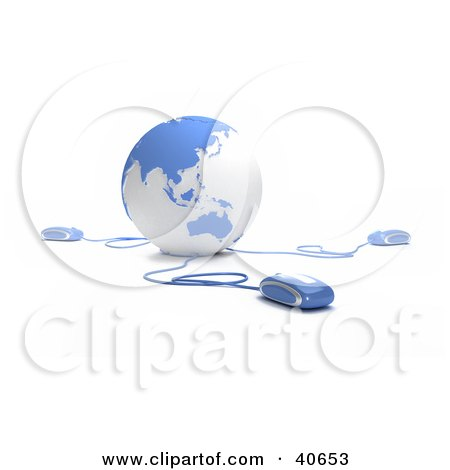 Clipart Illustration of 3d Computer Mice Extending From A Blue Globe by Frank Boston