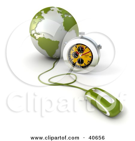 Clipart Illustration of a 3d Computer Mouse Connected To A Green Globe, With A Stopwatch by Frank Boston