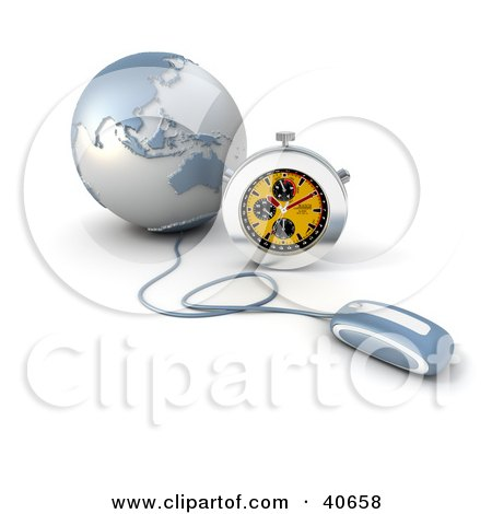 Clipart Illustration of a 3d Computer Mouse Connected To A Blue Globe, With A Stopwatch by Frank Boston