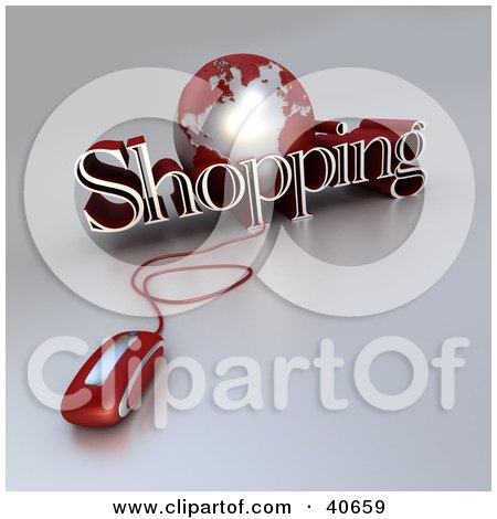 Clipart Illustration of a 3d Computer Mouse Wired To A Red Globe And The Word Shopping by Frank Boston