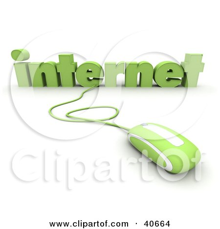 Clipart Illustration of a Green 3d Computer Mouse Connected To Internet Text by Frank Boston