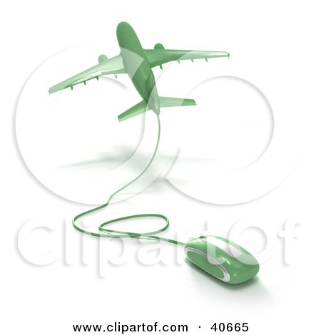 Clipart Illustration of a Green 3d Computer Mouse Wired To A Departing Airplane by Frank Boston