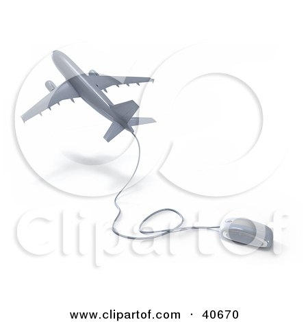 Clipart Illustration of a Silver 3d Computer Mouse Wired To A Departing Airplane by Frank Boston