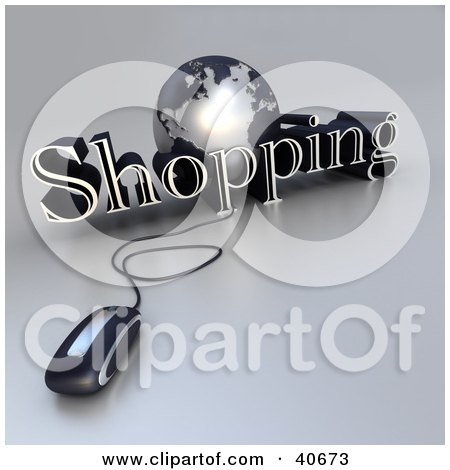 Clipart Illustration of a 3d Computer Mouse Wired To A Silver Globe And The Word Shopping by Frank Boston