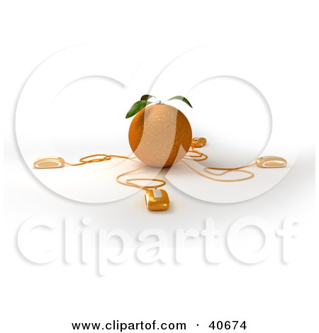 Clipart Illustration of 3d Computer Mice Wired To An Orange by Frank Boston