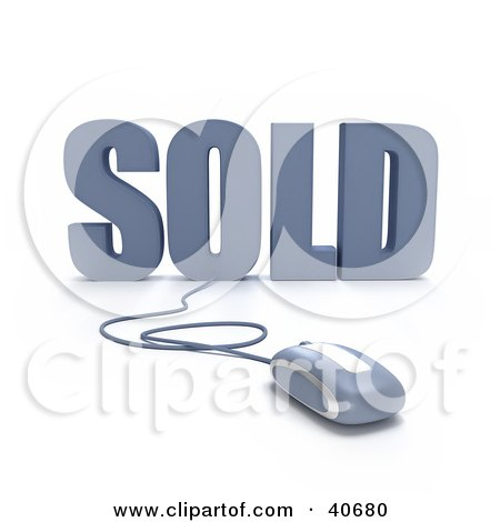 Clipart Illustration of a Blue 3d Computer Mouse Connected To Sold Text by Frank Boston