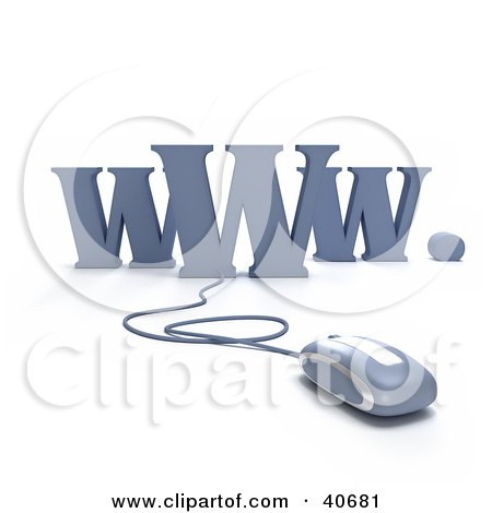 Clipart Illustration of a Blue 3d Computer Mouse Connected To WWW by Frank Boston