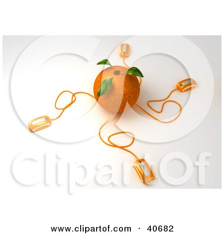 Clipart Illustration of a 3d Orange Conned To Computer Mice by Frank Boston