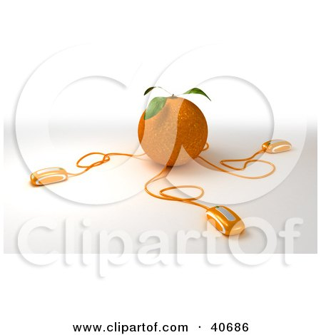 Clipart Illustration of 3d Computer Mice Plugged Into An Orange by Frank Boston