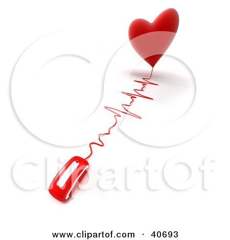 Clipart Illustration of a 3d Computer Mouse Wired To A Heart With A Monitor Graph by Frank Boston
