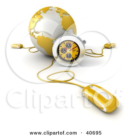 Clipart Illustration of a 3d Computer Mouse Connected To A Yellow Globe, With A Stopwatch by Frank Boston