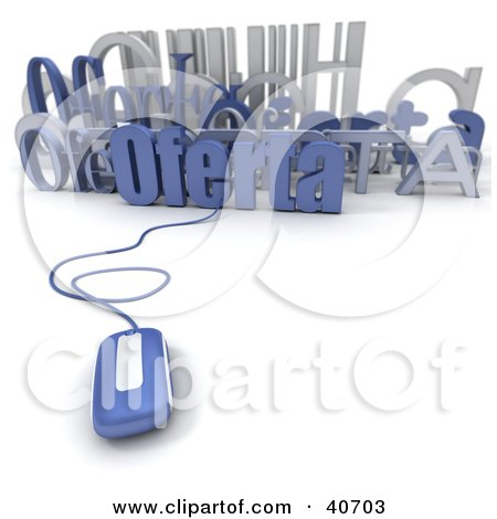 Clipart Illustration of a 3d Computer Mouse Connected To A Bar Code And Oferta Text by Frank Boston