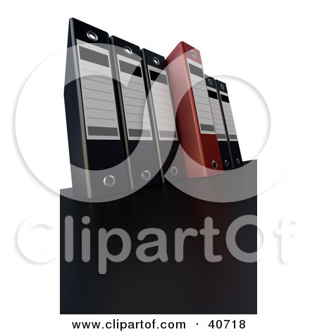 Clipart Illustration of One Red Binder Standing Out From A Row Of Black Binders by Frank Boston