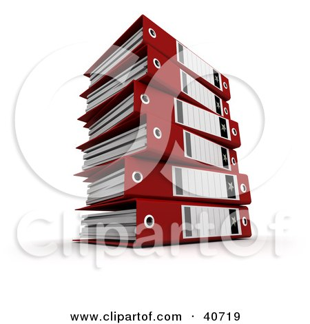 Clipart Illustration of a Stack Of Red 3d Ring Binders With Blank Labels by Frank Boston