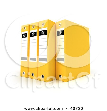 Clipart Illustration of Four Yellow Binders With Blank Labels by Frank Boston