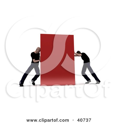 Clipart Illustration of Two Opposing 3d Men Pushing At Opposite Sides Of A Red Block by Frank Boston