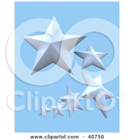 Clipart Illustration of Three 3d White Stars Around A Blue ...