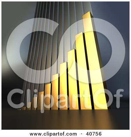 Clipart Illustration of a Golden 3d Bar Graph Climbing Upwards, Symbolizing Goals And Success by Frank Boston