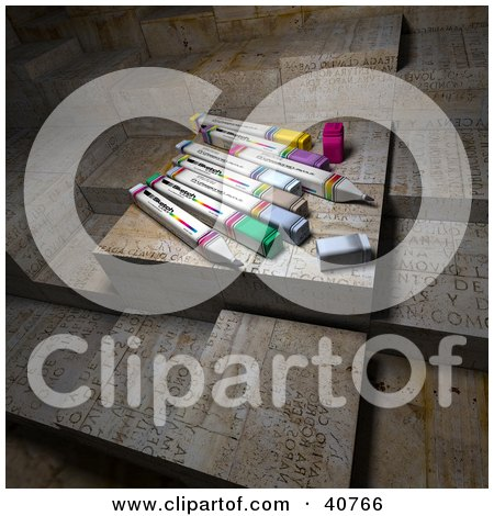 Clipart Illustration of Colorful 3d Office Markers Resting On Abstract Grungy Blocks by Frank Boston