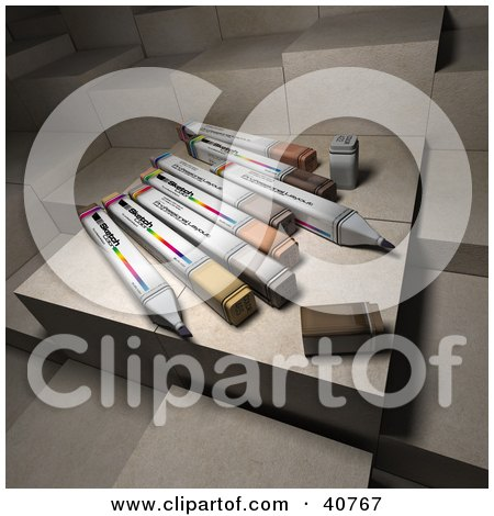 Clipart Illustration of Colorful 3d Office Markers Resting On Paper Blocks by Frank Boston