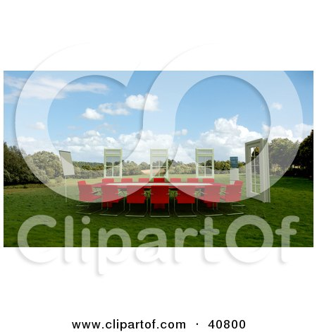 Clipart Illustration of 3d Windows Around A Red Conference Table In A Green Meadow by Frank Boston