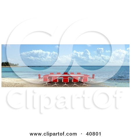 Clipart Illustration of a Red 3d Conference Table On A Beach by Frank Boston