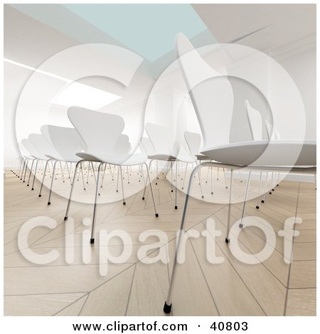 Clipart Illustration of a 3d Conference Room Full Of Empty White Chairs by Frank Boston